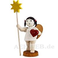 Schleifenengel mit Herz und Stern - gebeizt