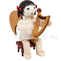 Schleifenengel mit Handharfe sitzend auf Hocker - gebeizt