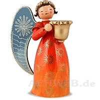 Richly painted Angel with candle holder large orange looking right