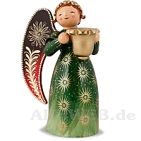 Richly painted Angel with candle holder large green looking right