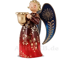 Richly painted Angel with candle holder large red looking left