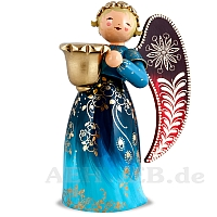 Richly painted Angel with candle holder large blue  looking left