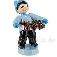 Pfefferkuchenjunge mit Bauchladen blau