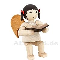Schleifenengel mit Buch sitzend • gebeizt