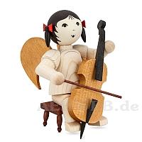 Schleifenengel auf Hocker mit Cello • gebeizt