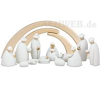Krippenfiguren weiß 14 teilig mit Stall