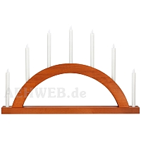 LED Round Arch with LED Candles walnut colored wood