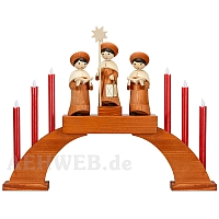 LED Candle Socket Arch with LED Candles and base walnut colored wood