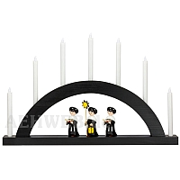 LED Round Arch with LED Candles black colored wood