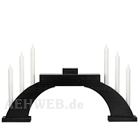 LED Candle Socket Arch with LED Candles and base black colored wood