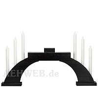 Sockelschwibbogen schwarz mit LED Kerzen und Stellfläche