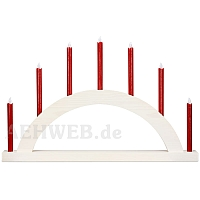 LED Round Arch with LED Candles white colored wood