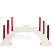 LED Candle Socket Arch with LED Candles and base white colored wood