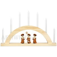 LED Round Arch with LED Candles natural wood