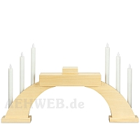 LED Candle Socket Arch with LED Candles and base natural wood