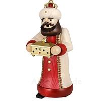 Räuchermann König mit Schatulle gebeizt