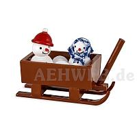 Schneemannkinder im Schlitten lackiert von Ulmik