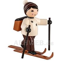Skifahrer Schneefrei mit Schulranzen braun von Ulmik