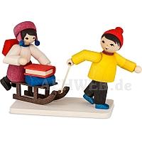 Kinderpaar Schneefrei gebeizt von Ulmik