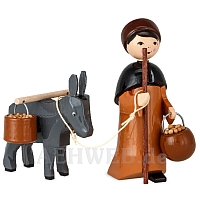 Donkey Caravan Donkey Drover with Bucket lacquer painted 7 cm