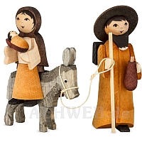 Mary and Joseph on donkey 7 cm stained