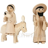 Mary and Joseph on donkey natural 7 cm