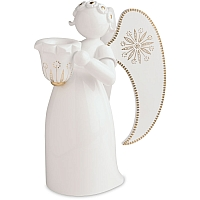 Angel white golden painted with Candle Holder looking left