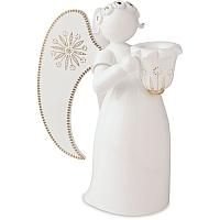 Angel white golden painted with Candle Holder looking right