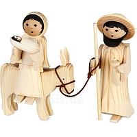 Maria und Josef auf Esel natur 13 cm