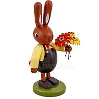 Hasen mit Blumenstrauß braune Hose 8 cm