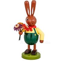 Großer Hasen mit Blumenstrauß und grüner Hose 16 cm