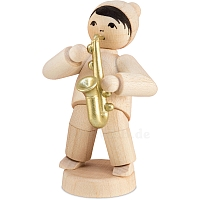 Winter musician boy with saxophone natural from Ulmik