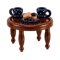 Coffee table with blue dishes from Ulmik