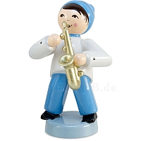 Winter musician boy with saxophone blue from Ulmik