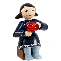 Coffee party winter child girl blue with coffee cup from Ulmik