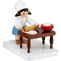 Winter child cookie baker girl blue with table from Ulmik