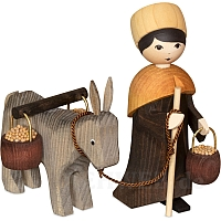 Donkey Caravan Donkey Drover with Bucket 13 cm stained