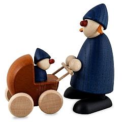 Gratulantin Paula mit Kinderwagen, blau